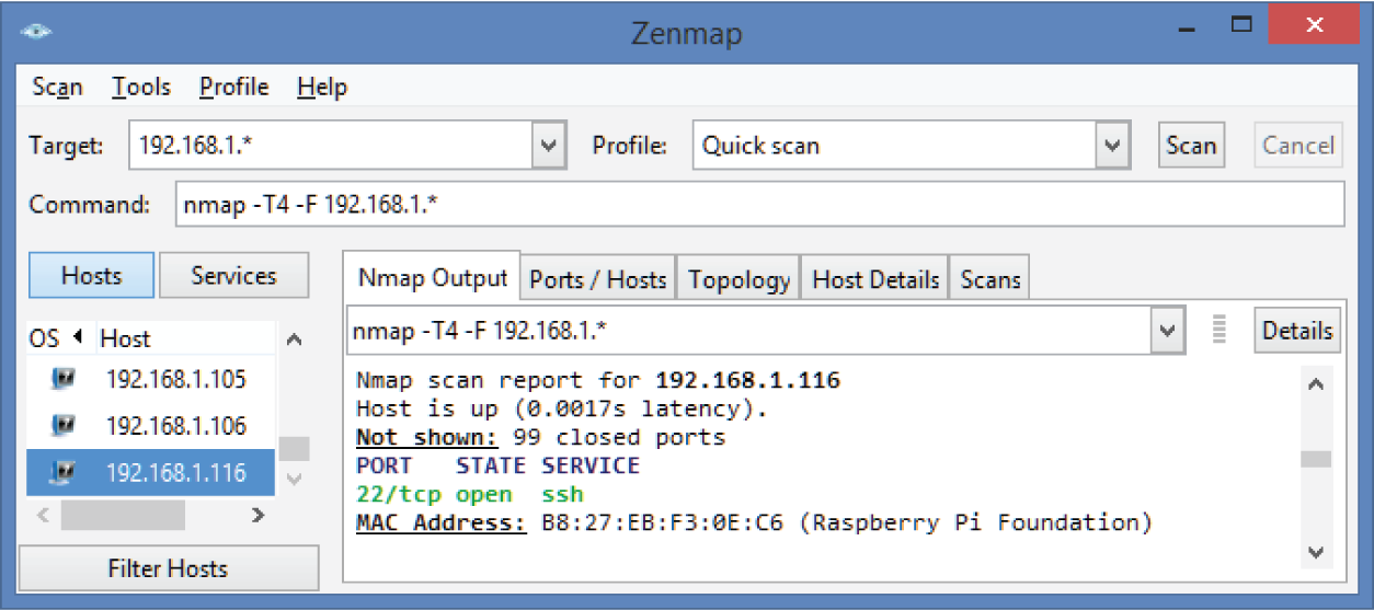 Zenmap Window